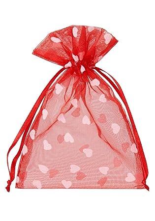 30 bolsitas rojas de tela organza con estampado de corazón ...