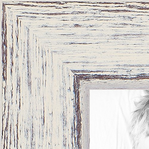 ArtToFrames 11x14 inch Distressed Eggshell on Barnwood Wood Picture Frame, WOM0066-77900-YWHT-11x14