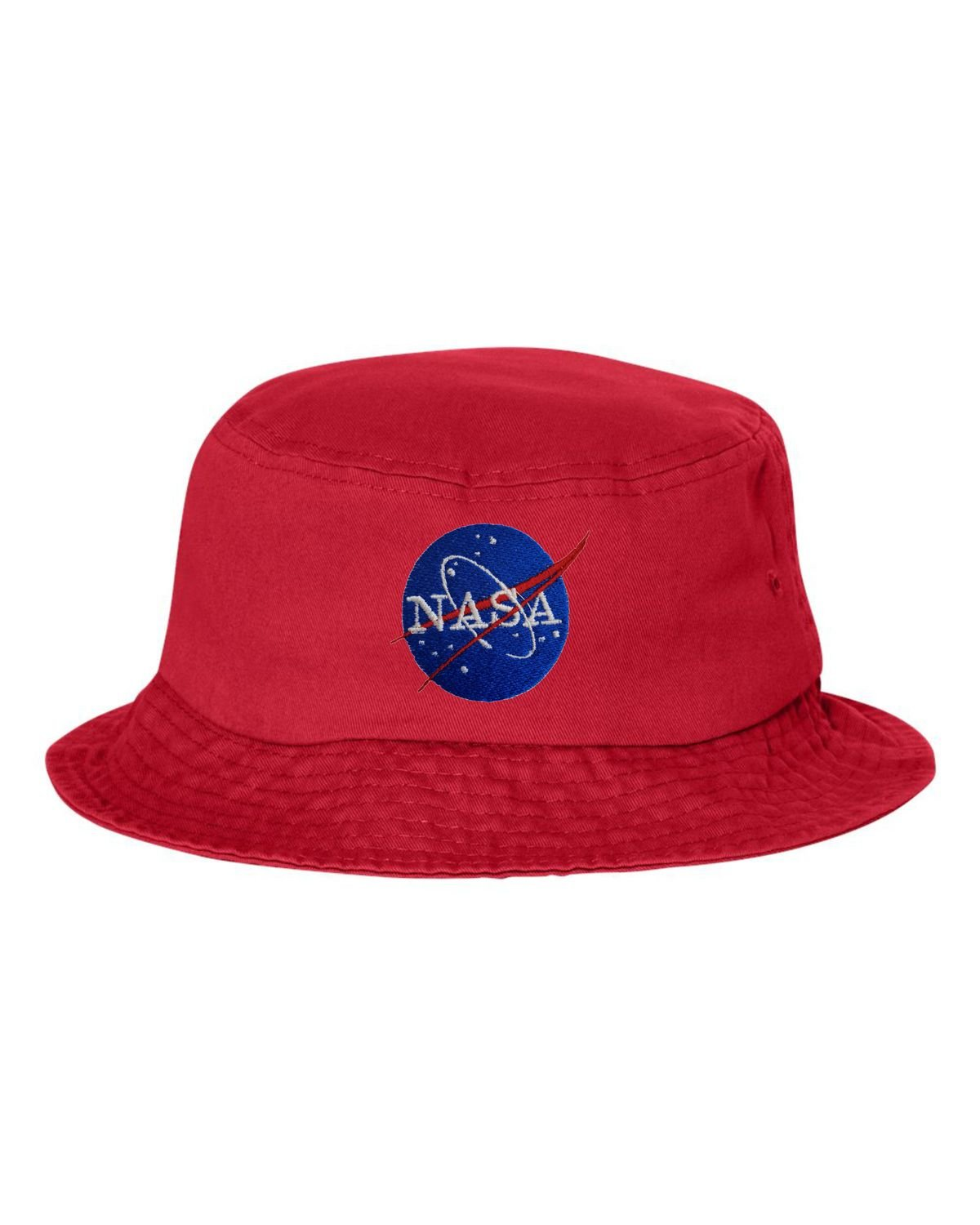 f478fc44e03 One Size Red Adult NASA Insignia Logo Embroidered Bucket Cap Dad Hat