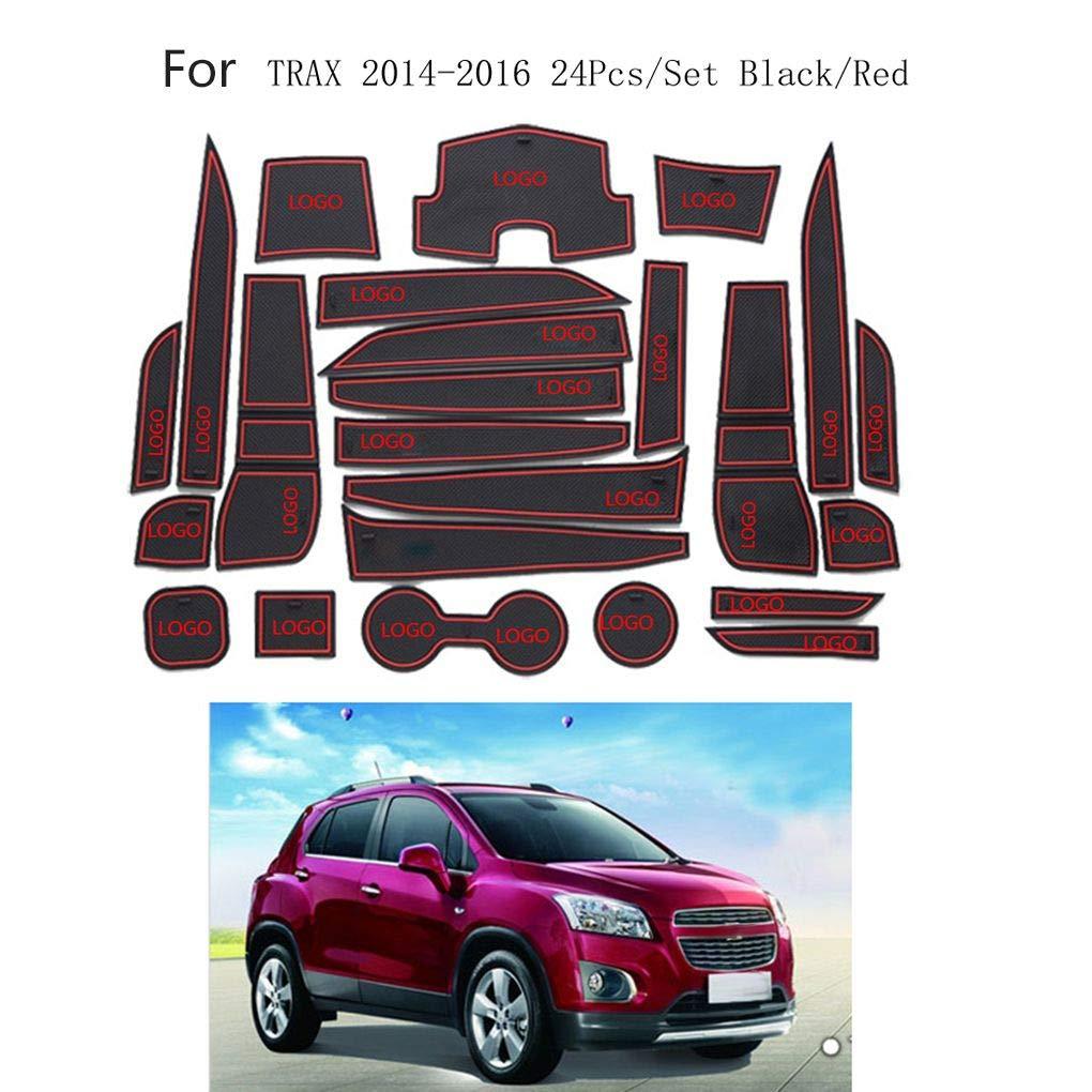 AUWU 24pcs/Set Dustproof Car Gate Slot Mat Decoration Non-Slip Door Grrove Pad Replacement for Chevrolet Trax 2014-2016