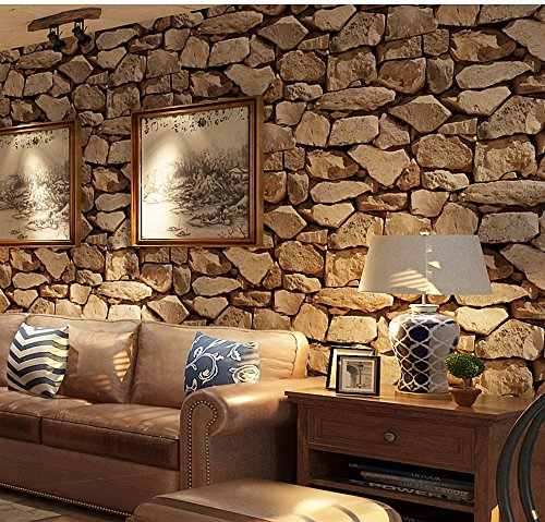 Birwall Faux Rustic Brick Stone Wallpaper Wall Paper for Livingroom Kitchen Bedroom,20.8 In32.8 Ft=57 Sq.ft (57803)