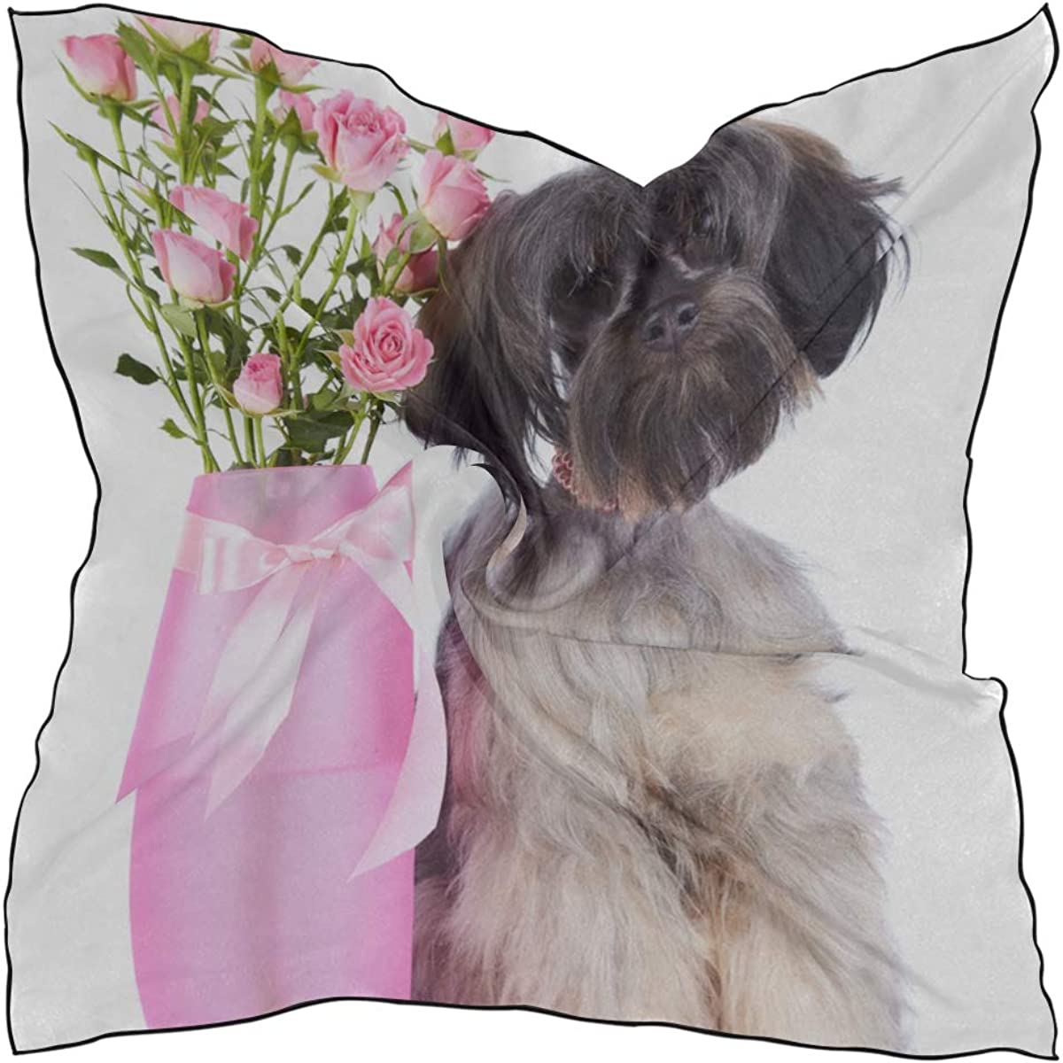 Soft Polyester Silk Lightweight Scarves For Women Fashion Print Lovely Dog And Tulip Bunch In Vase Scarfs Women Scarves Women Hair And Scarf Multiple Ways Of Wearing Daily Decor