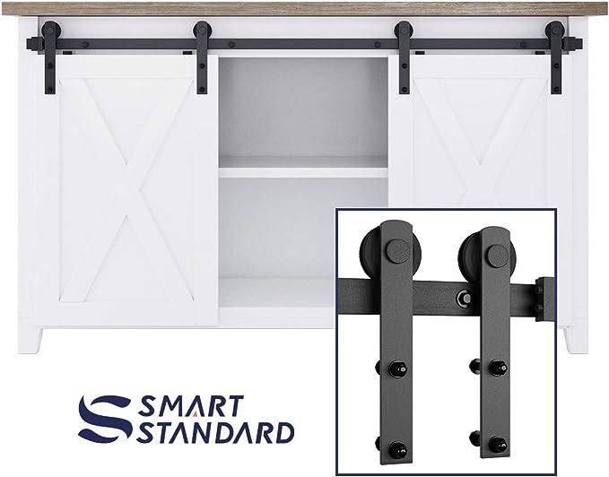 smartstandard Mini armario 5.0 ft doble puerta corredera puerta Hardware para armario mueble para televisor con armario (negro) (Mini I forma perchas) (1 x 5.0 pie Rail): Amazon.es: Bricolaje y herramientas