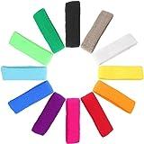 Mallofusa 12 PCS Different Color Cotton Sports Basketball Headband /Sweatband Head Sweat Band/Brace
