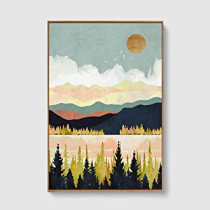 SIGNFORD Framed Canvas Home Artwork Decoration Nordic Style Abstract Color Canvas Wall Art for Living Room, Bedroom - 24x36 inches