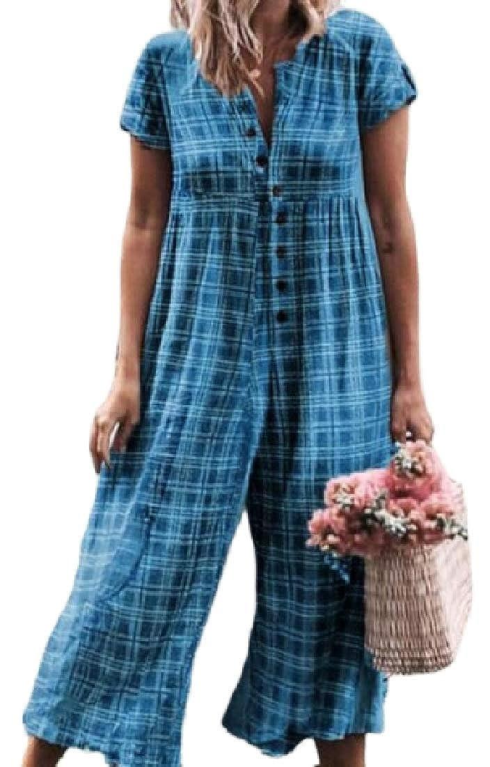 MOUTEN Womens Short Sleeve Plaid Check Fashion Wide Leg Linen Long Rompers