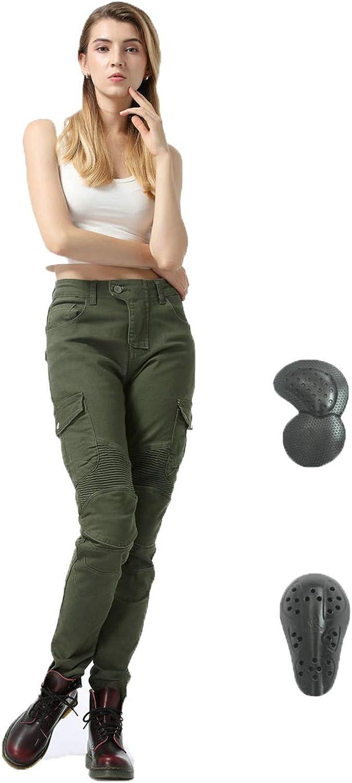 Pantalones De Moto Para Mujer, Pantalones De Motocross, Versión Mejorada De Esterilla Protectora Extraíble, Pantalones De Moto Anticaídas (verde,43)