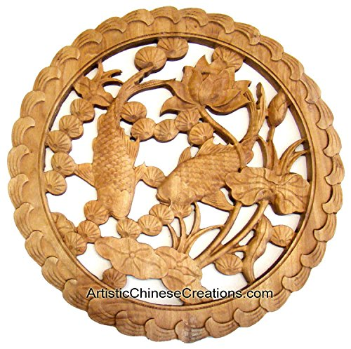 Chinese Art / Chinese Crafts / Chinese Wall Decor / Chinese Wood Carving: Carved Chinese Wood Plaque - Fish & Lotus (Plaque Chinese Wall)