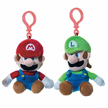 Pack 2 Llaveros Clip On Peluches Mario Luigi Super Mario Bros Soft 15-17 cm