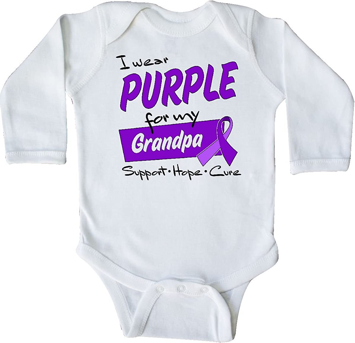 Pancreatic Cancer Long Sleeve Creeper inktastic I Wear Purple for My Aunt