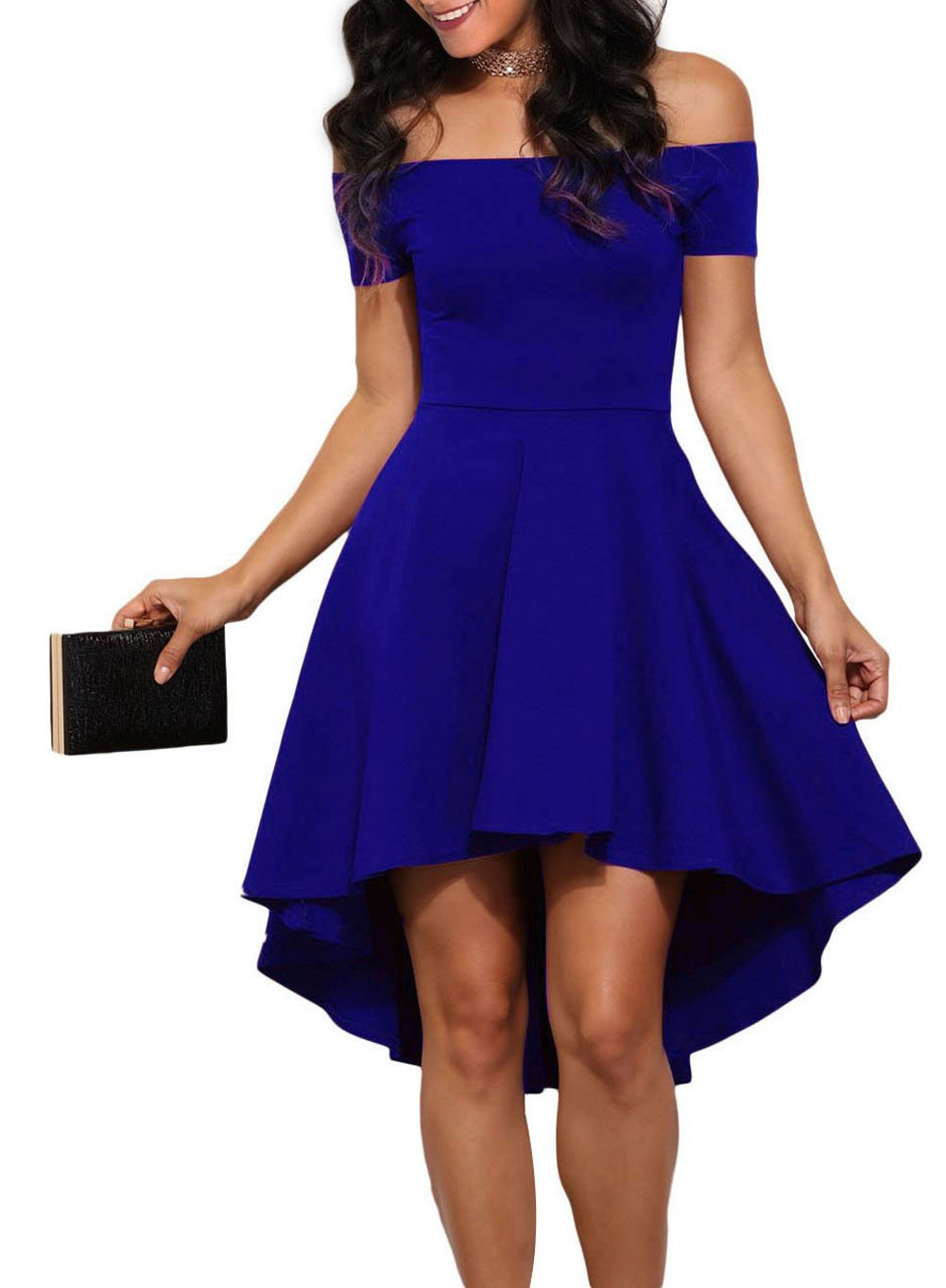 LOSRLY Womens Casual Retro Open Shoulder Flare Wedding Guest Dress Prime Royal Blue L 12 14