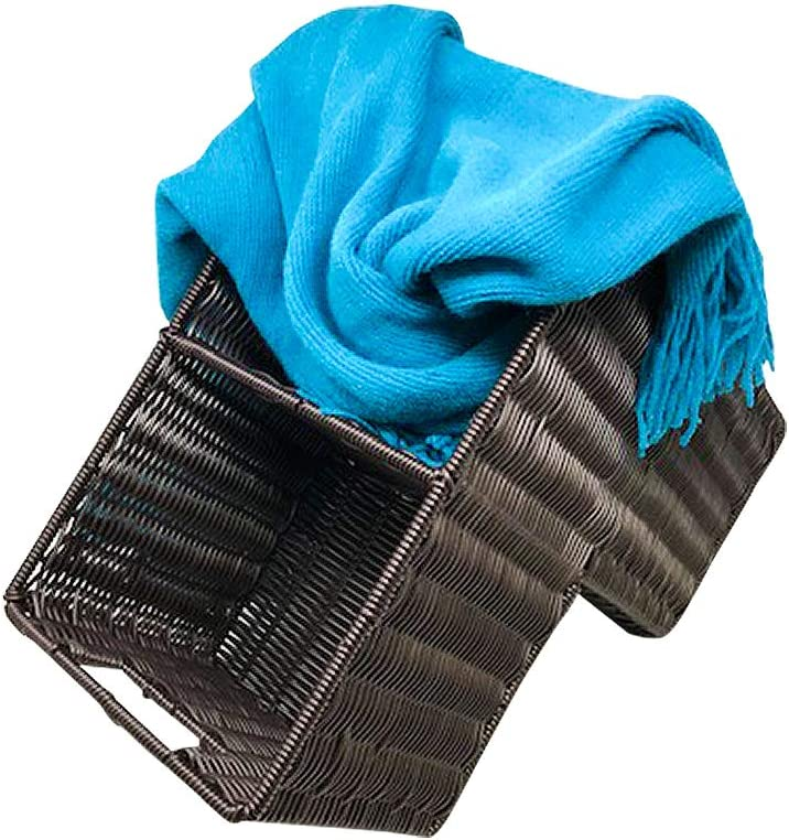 Trademark Innovations 14 Plastic Wicker Storage Stair Basket with Handles