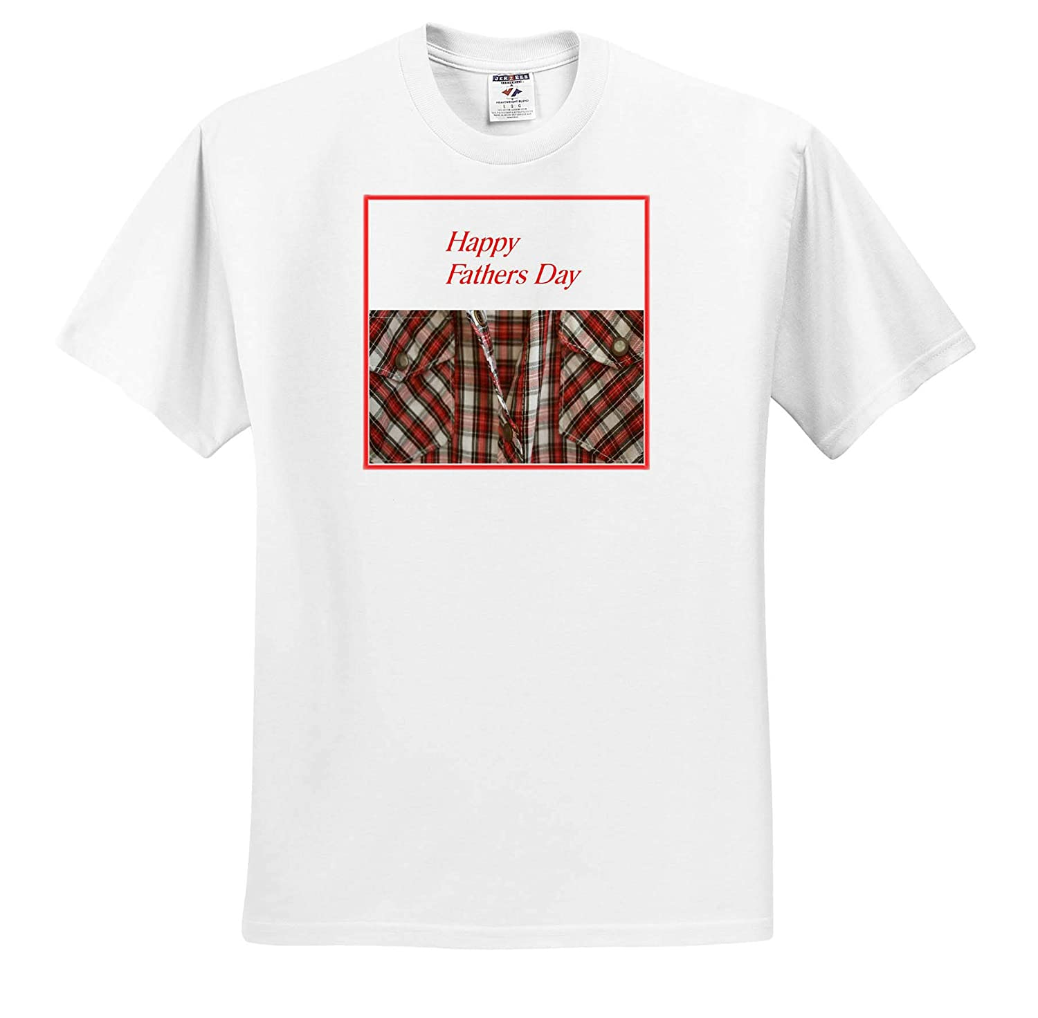 3dRose Lens Art by Florene Fathers Day Adult T-Shirt XL Image of Happy Fathers Day On Red Plaid Shirt ts/_312623