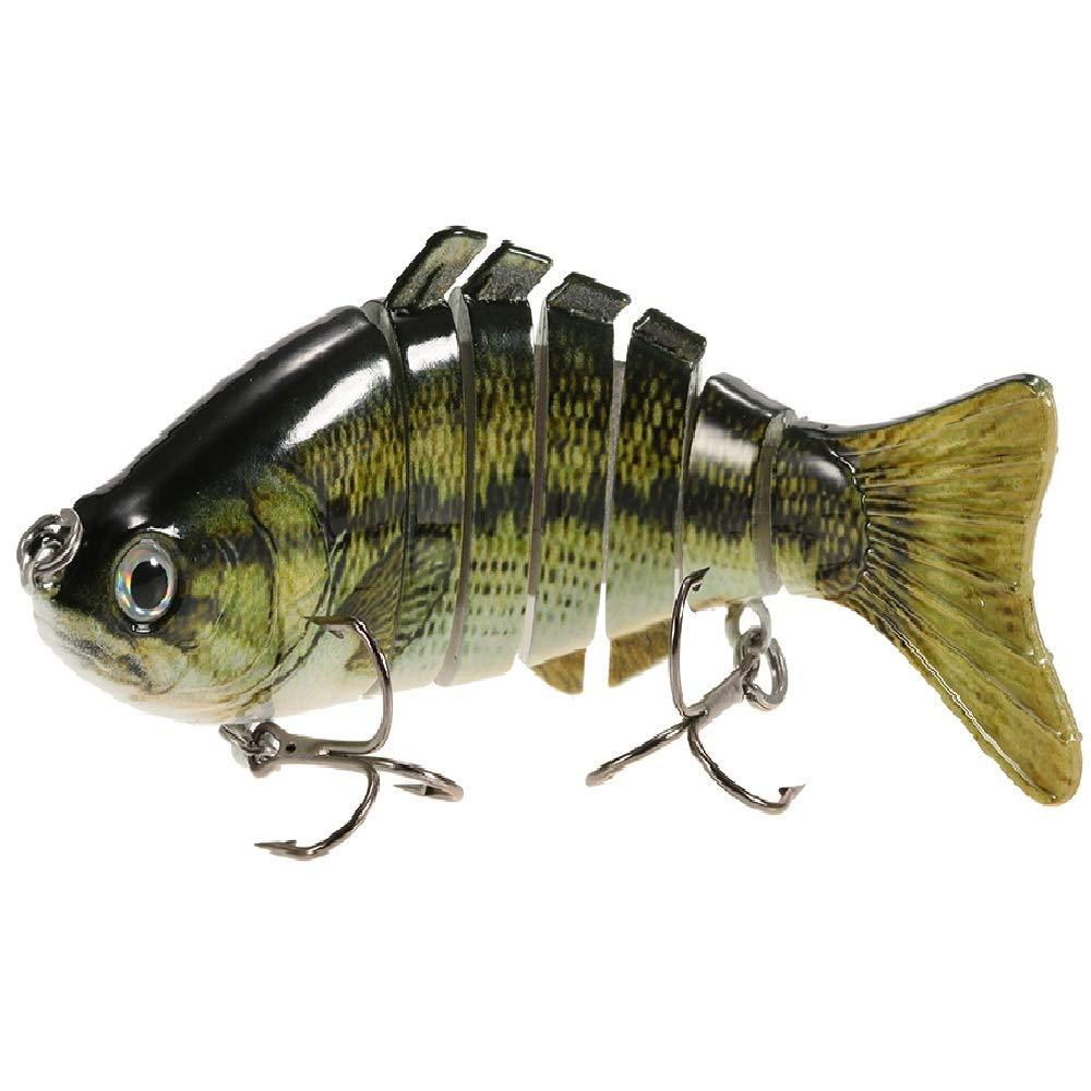 Lixada 10cm/4'' 15.5g Bionic Multi Jointed Fishing Lure SUN-FISH Lifelike Hard Bait Bass Yellow Perch Walleye Pike Muskie Roach Trout Swimbait (Style 10)