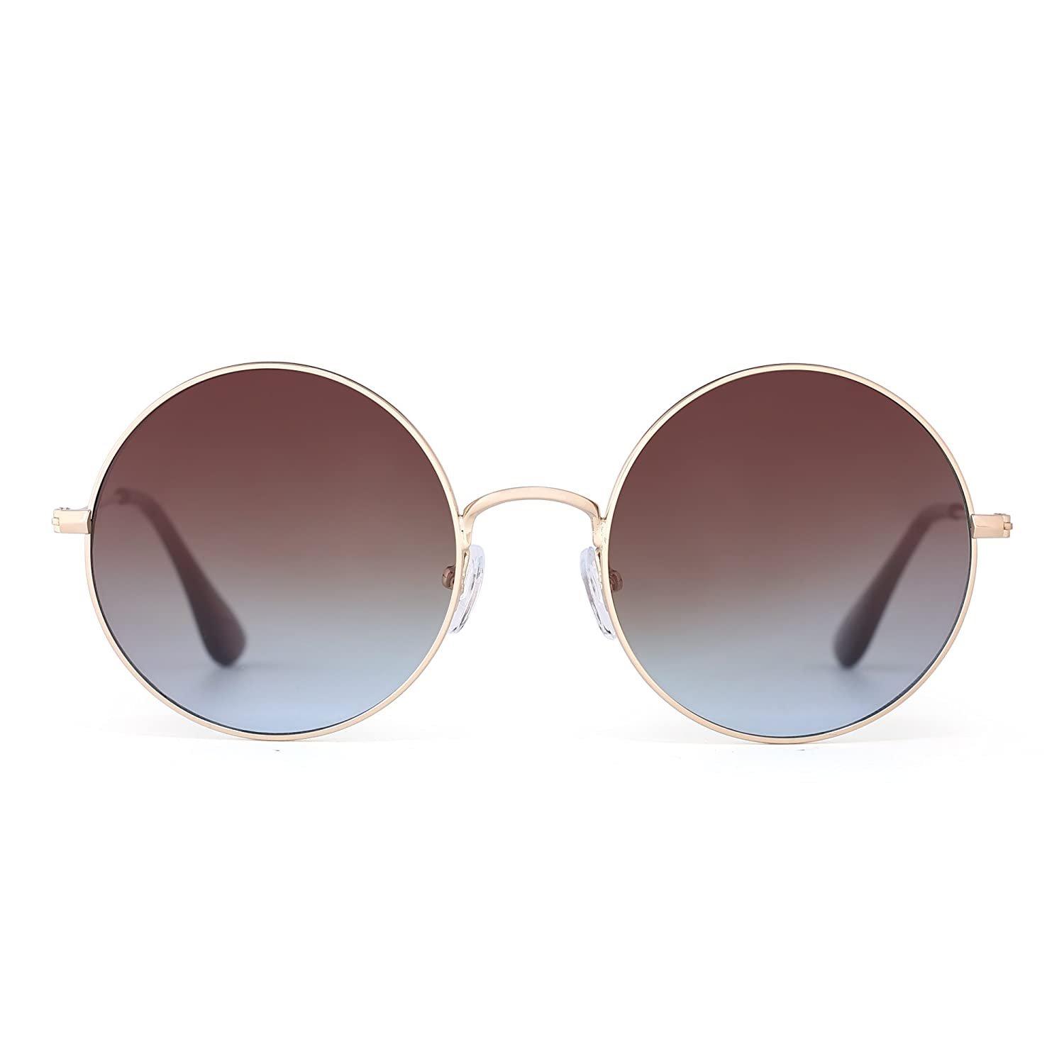 Retro Round Metal Sunglasses Women Men Flash Mirror Reflective Circle Lens UV400 JM BAX0016 C4