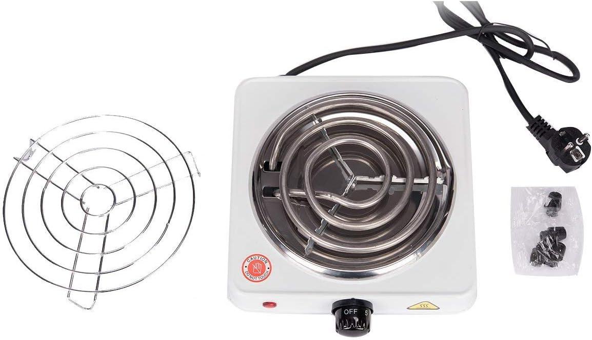 Hornillo el/éctrico para carb/ón Camping para cocinar carb/ón 1000W Negro Kertou Cocina el/éctrica para Shisha cachimba Hookah