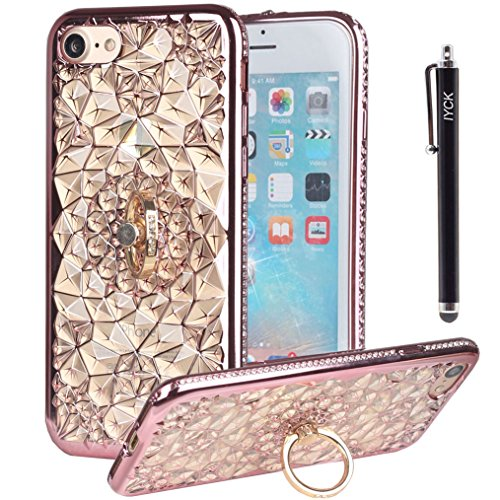 - iPhone 8 Case, iPhone 7 Case, iYCK [Crystal Flower] Soft Flexible TPU Rubber Diamond Bling Glitter Protective Case Cover for iPhone 7/iPhone 8 4.7inch with Rotating Ring Stand Kickstand - Rose Gold