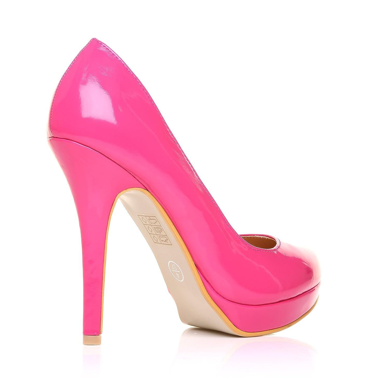EVE Fuchsia Patent PU Leather Stiletto High Heel Platform Court Shoes:  Amazon.co.uk: Shoes & Bags
