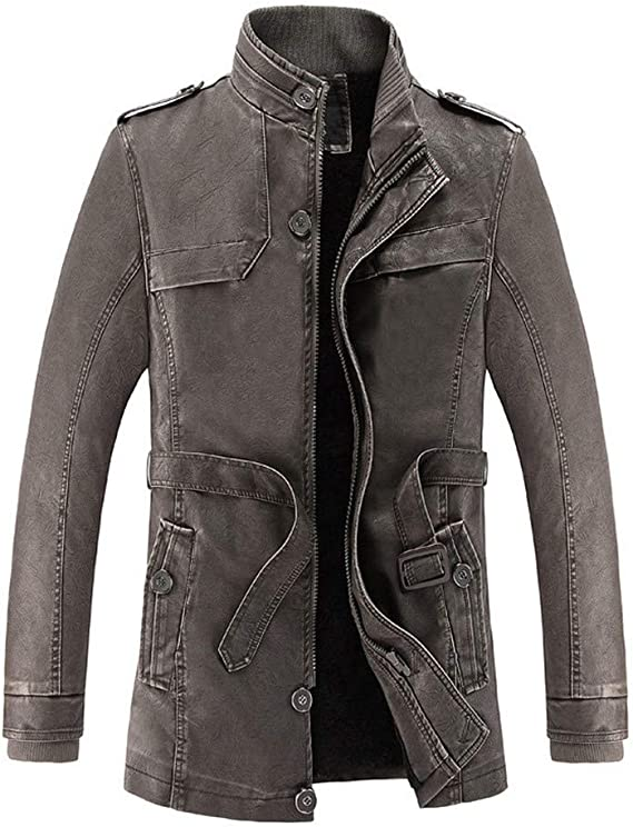 Plus Size Jacket,Mens Winter Casual Outwear Pocket Zipper Thermal Leather Coat Fashion