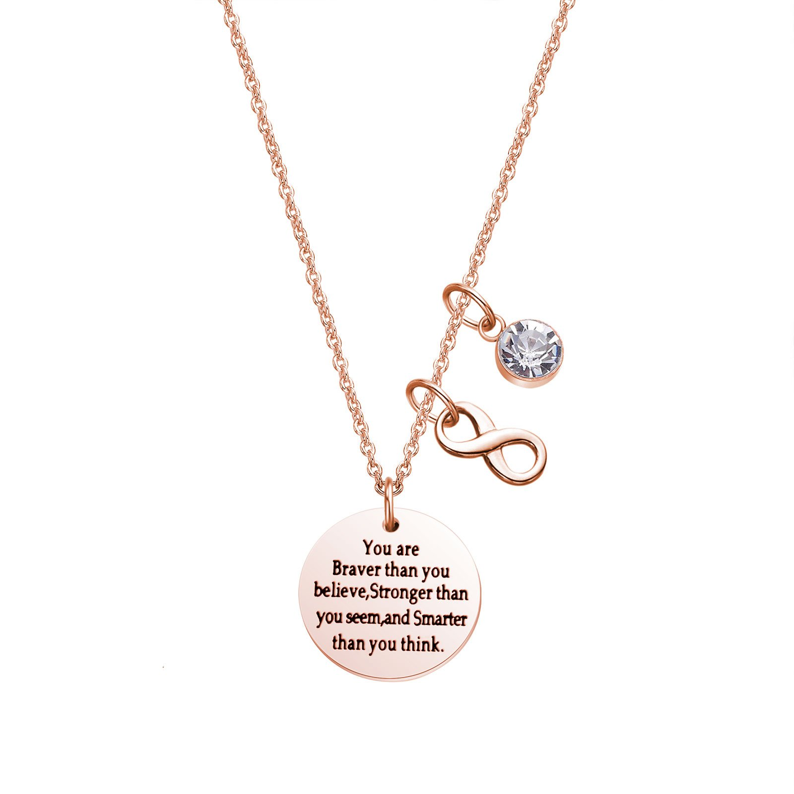 LIUANAN Back to School Gift You are Braver Stronger Seem Smarter Necklace
