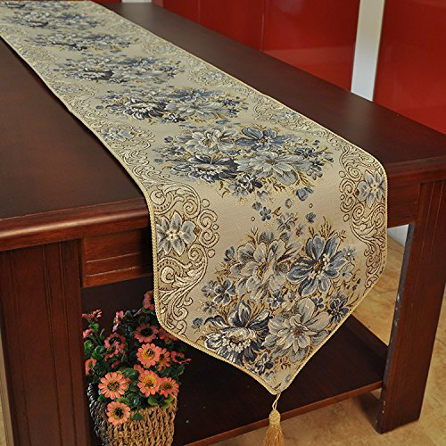 Hiendure Classic Embroidery European Style Tassel Dining Table Runners Sequined Lace Hotel Bed Coffee Table Runners 11inch70.8inch,blue