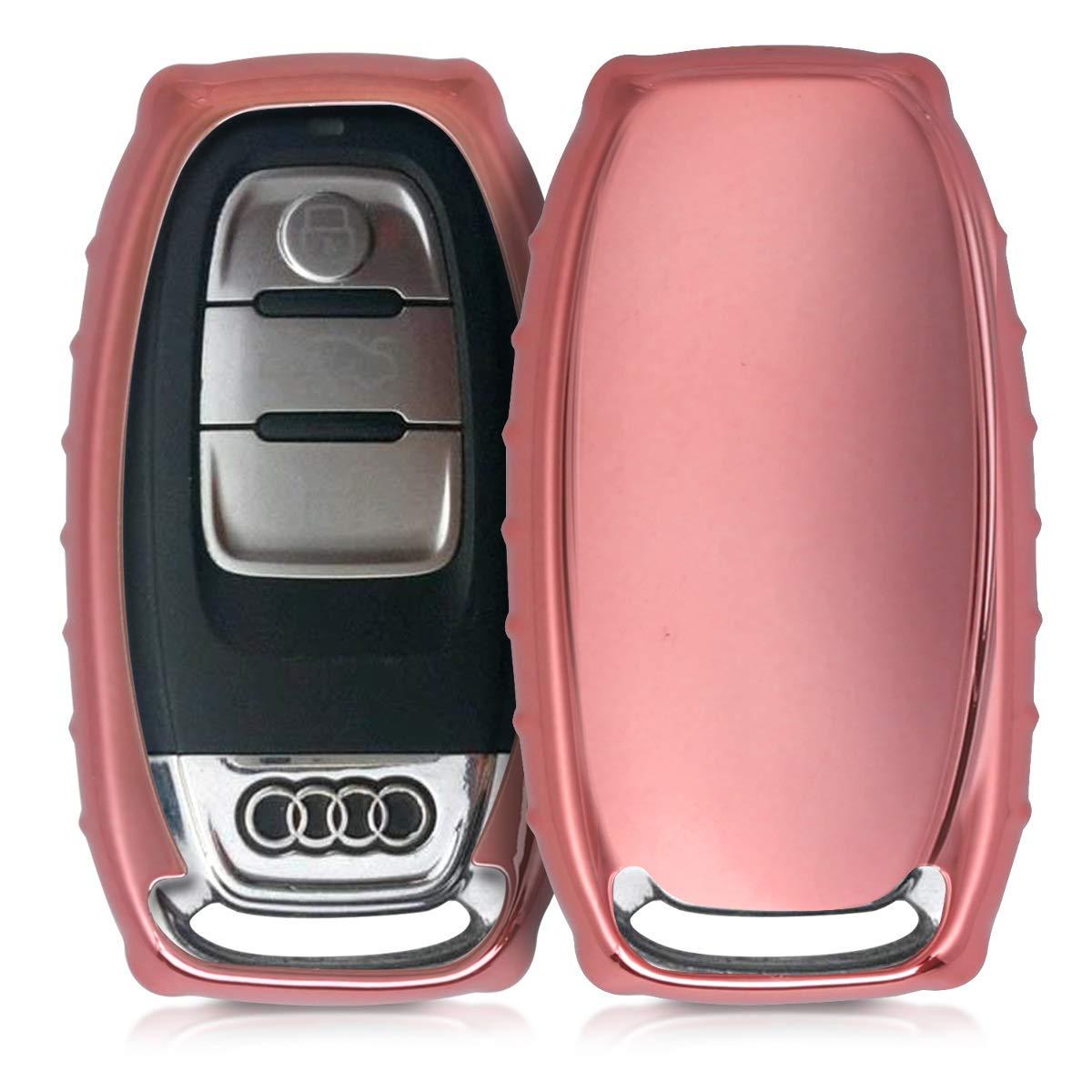 Soft TPU Silicone Protective Key Fob Cover for Audi 3 Button Car Key Keyless Go kwmobile Car Key Cover for Audi Silver//Metallic Silver