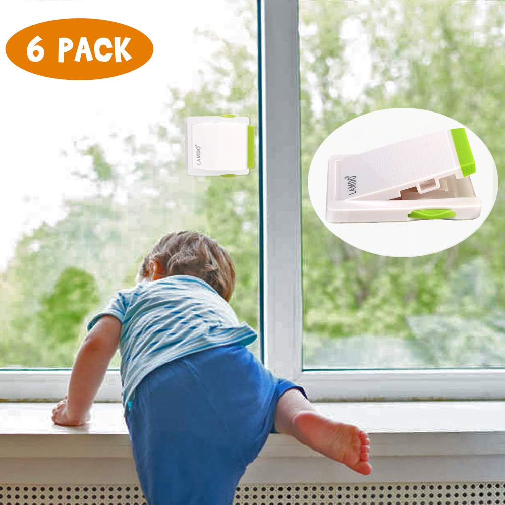 6 Pack Sliding Door Lock for Child Safety,Lamdo Baby Proof Locks for Sliding Window Cabinet Closet or Patio door,No Tool or Screws Needed by Lamdo
