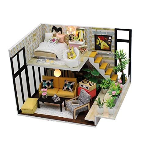 Mini casa de bricolaje 3d DIY Dollhouse con luz LED, Kit ...