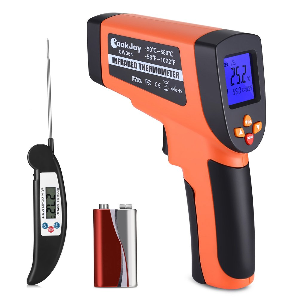Infrared Thermometer, COOKJOY Non-Contact Laser Infrared Thermometer Infrared Thermometer Temperature Gun, Digital Surface IR Thermometer,Instant Read -58° F~1022° F- Meat Thermometer Included Instant Read -58°F~1022°F- Meat Thermometer Included