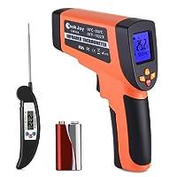 Laser Infrarot Thermometer mit Küchenthermometer Faltbar, Dual Laser Temperaturmessgerät Berührungslos mit CookJoy Fleischthermometer, IR Pyrometer -50°C bis +550°C, Temperaturmesser mit LCD Beleuchtung
