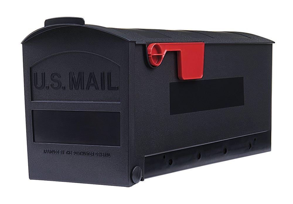 Gibraltar Mailboxes Patriot Medium Capacity Rust-Proof Plastic Black, Post-Mount Mailbox, GMB505B01