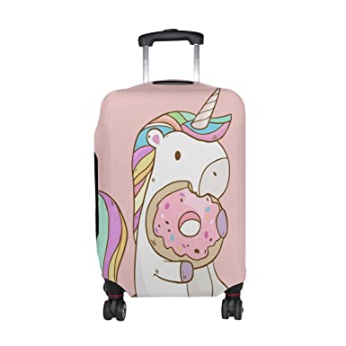 052ebf25a Image Unavailable. Image not available for. Color: Cooper girl Unicorn  Donuts Travel Luggage Cover Suitcase Protector Fits 23-26 Inch