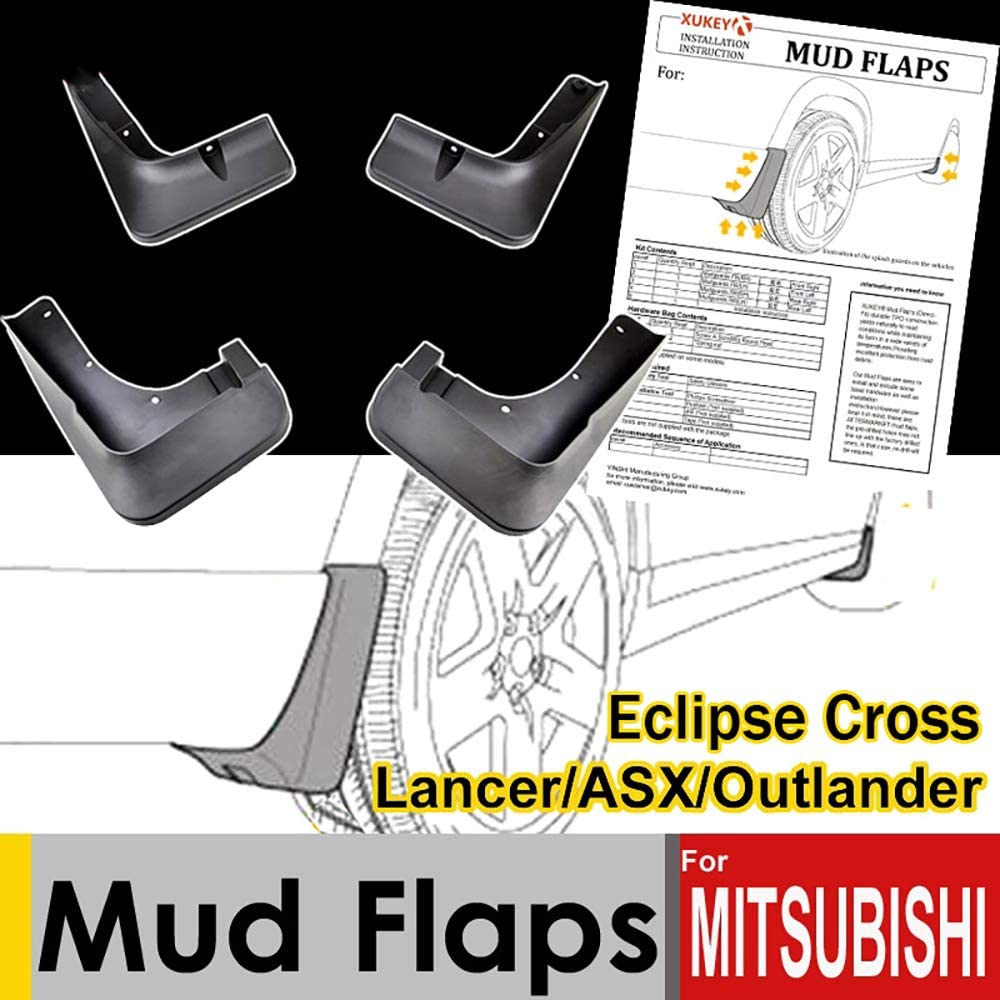 RASOME Car Mud Flaps For Mitsubishi Lancer ASX Outlander Sport Eclipse Cross Mudflaps Splash Guards Mud Flap Mudguards