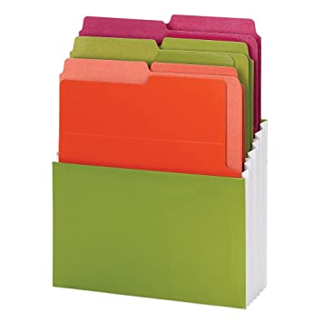 Smead Organized Up Vertical Stadium File with Heavyweight Vertical Folders, 3 Pockets, Letter Size, Peridot/Brights (70222)