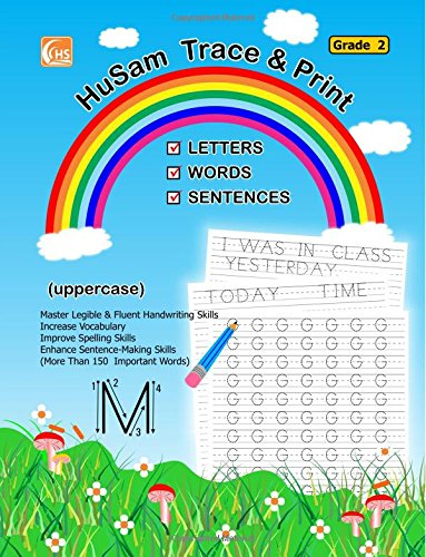 Read Online HuSam Trace and Print : LETTERS , WORDS , SENTENCES  ( uppercase ) ( Grade 2 ) ( handwriting tracing printing alphabet practice workbook ) ebook