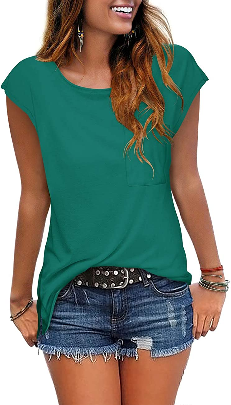 Cosonsen Women's Tassel Short Sleeve Round Neck T-Shirt Top Casual Summer Tee