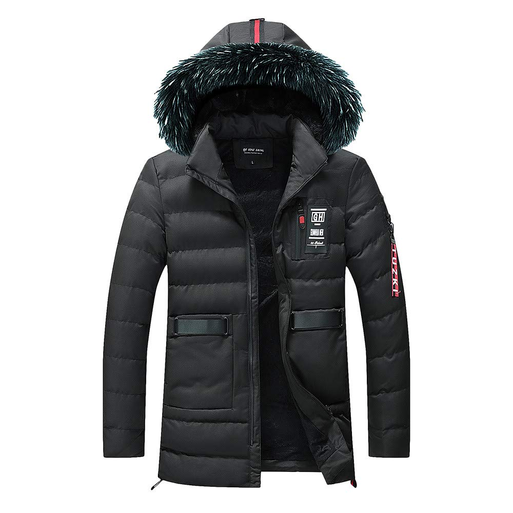 Mens Down Coats,Winter Removable Faux Fur Hooded Down Jacket Lined Puffer Jacket Outerwear Zulmaliu (Black,L)