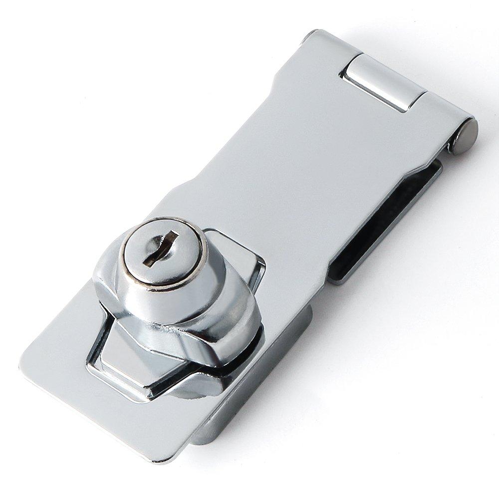 Alise 4-inch Clasp Keyed Hasp Latch Lock,MS1100-4C Chrome