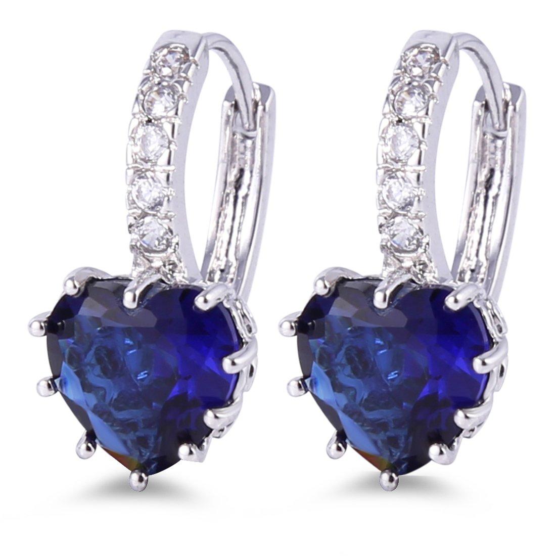GULICX White Gold Tone Sapphire Color Blue Huggie Hoop Earrings Leverback Heart Shape Women Girls