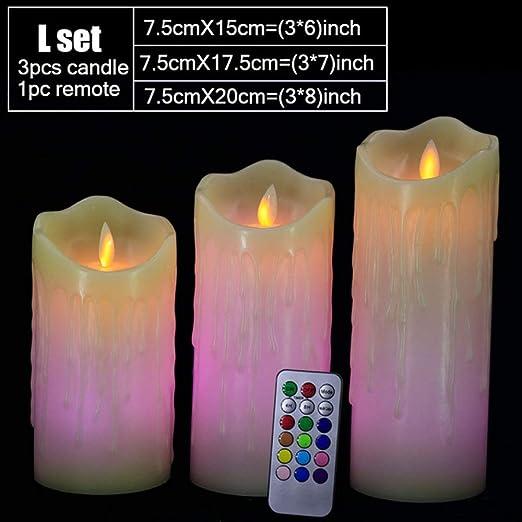 wangZJ Control remoto Cambio de color/velas de cera led/sin ...