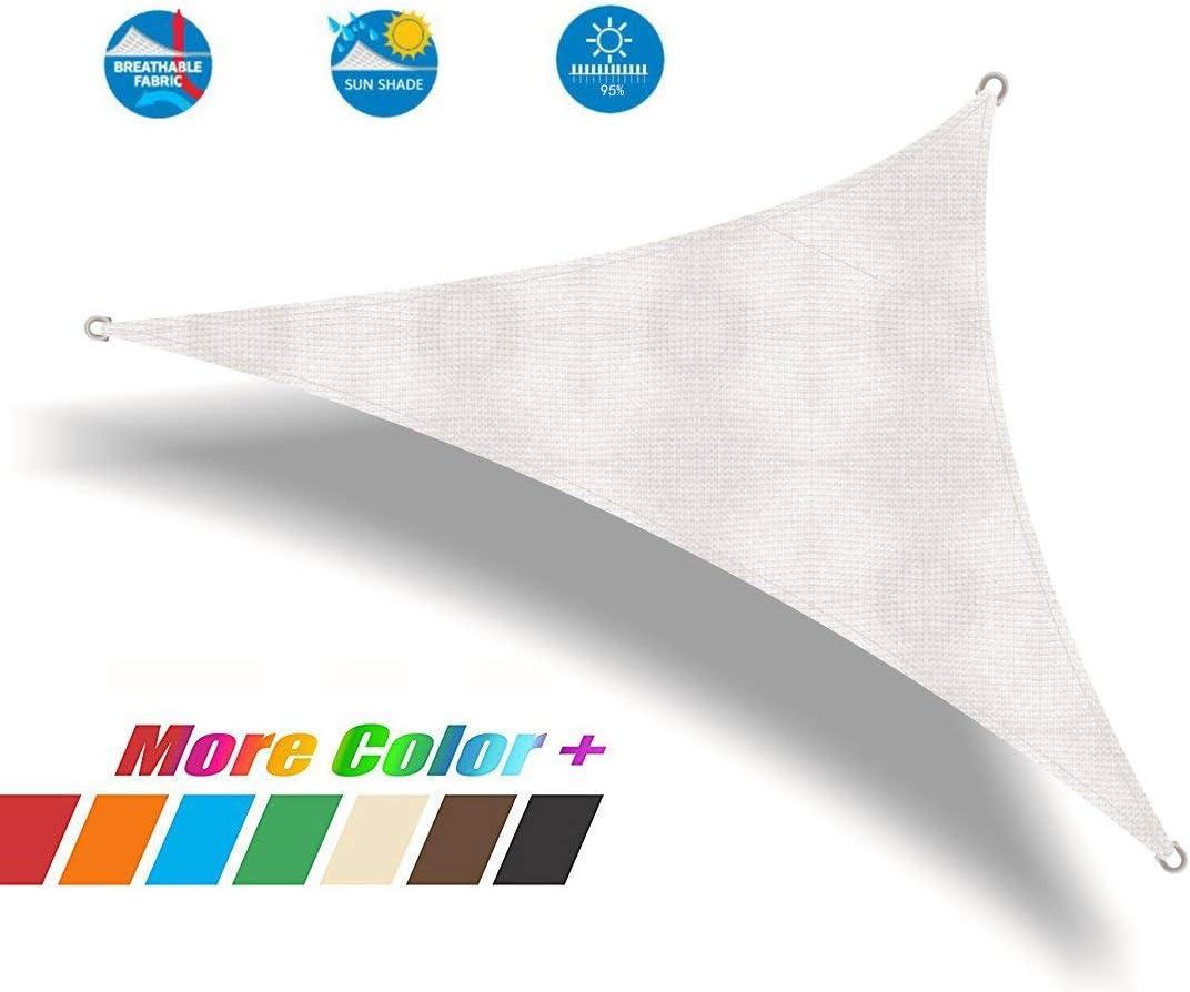 Insun Oxford Cloth Triangle Sun Shade Sail with Grommets 95 Sunblock Anti UV Shade Cloth for Home White 16.4 x16.4 x16.4