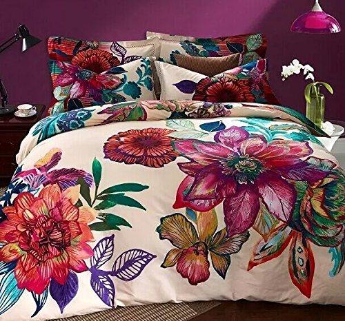 LELVA Bohemia Exotic Bedding Set Bohemian Duvet Covers Boho Bedding Set Queen Size Summer Style Sabanas Sheet 4 Pieces (3, Queen) - Bedding Hawaiian Print