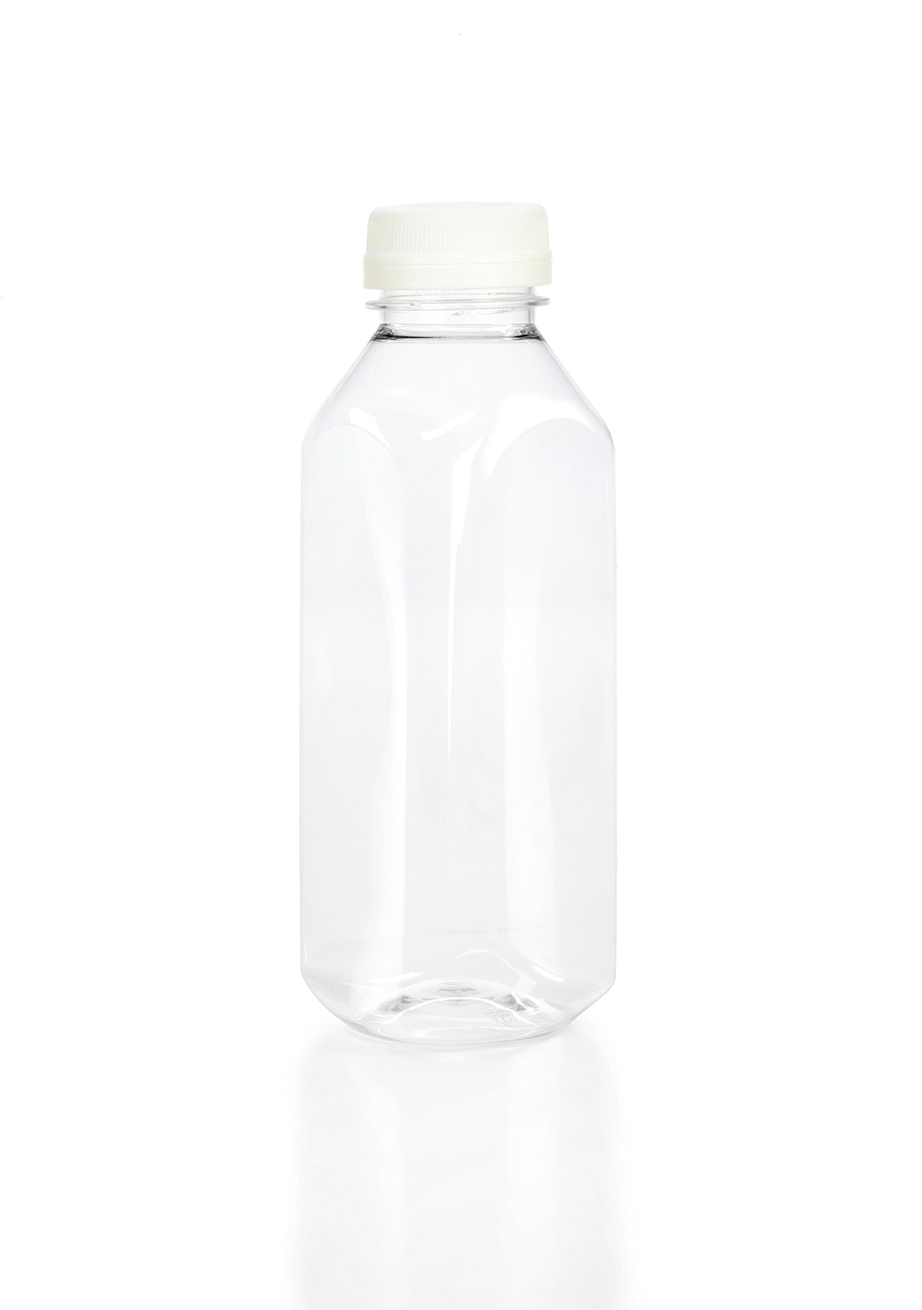 (12) 16 oz. Clear Food Grade Plastic Juice Bottles Square with White Caps 12/Pack