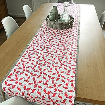 Tischläufer FLAMINGOS Tischdecke 45x250 cm extra lang gedeckter ...