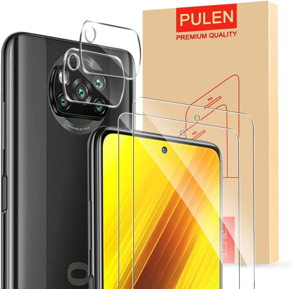 [4-Packs] PULEN for Xiaomi Poco X3 NFC Screen Protector (2 packs) with 2 Packs Camera Lens Protector,HD Clear Anti-fingerprints Anti-Scratch 9H Hardness Tempered Glass