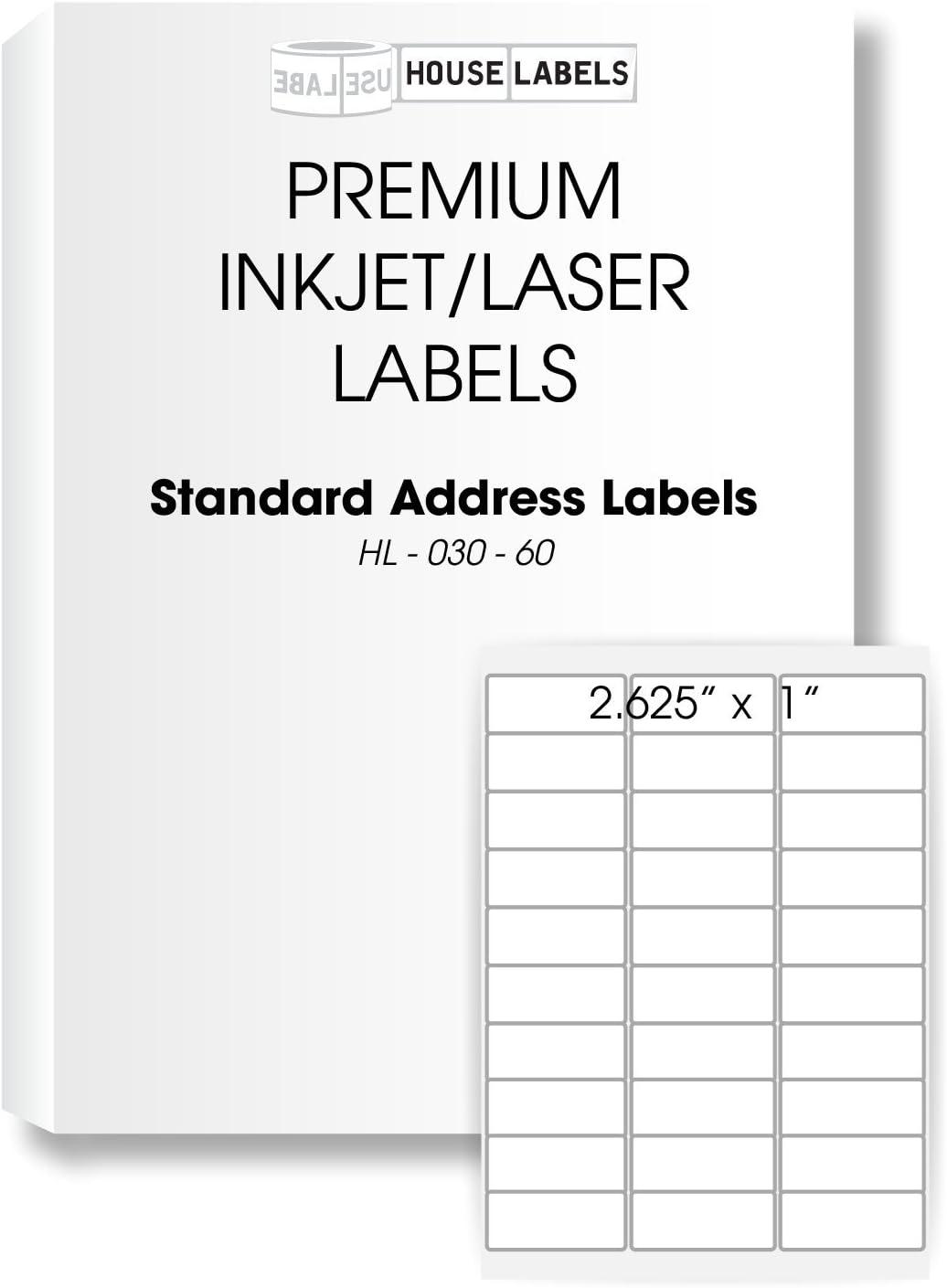 1 x 2-5//8 Address Labels 25 Sheets; 750 Labels - BPA Free! 30-UP