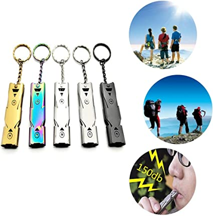 1Pc Stainless Steel Double Tube Whistle Lifesaving Emergency Device Outdoor