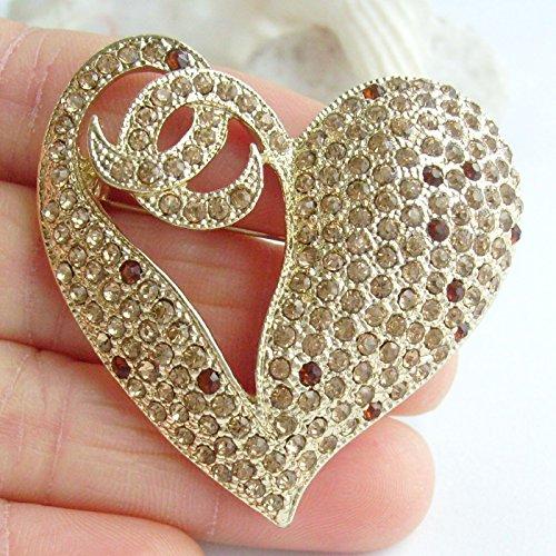 1.97'' Rhinestone Crystal Love Heart Brooch Pin Pendant BZ4831 (Gold-Tone Yellow) by Sindary Jewelry (Image #1)