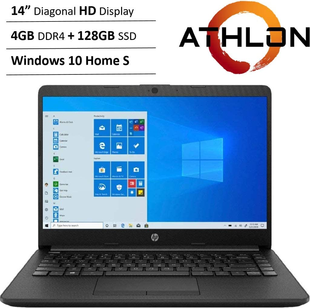 "Newest HP 14"" HD WLED Backlit High Performance Business Laptop, AMD Athlon Silver 3050U up to 3.2GHz, 4GB DDR4, 128GB SSD, Wireless-AC, HDMI, Bluetooth, Webcam, SD Card Reader, Windows 10 S"