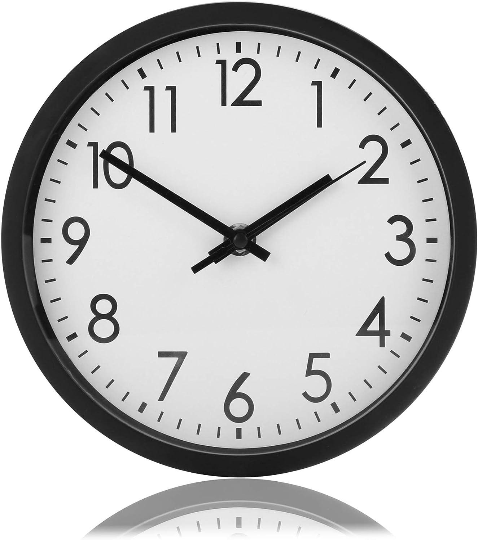 com-four® Reloj de Pared analógico con Esfera Grande - Hermoso Reloj para Cocina, Sala de Estar, Dormitorio y Oficina - Ø 20 cm (1 Pieza - Negro)